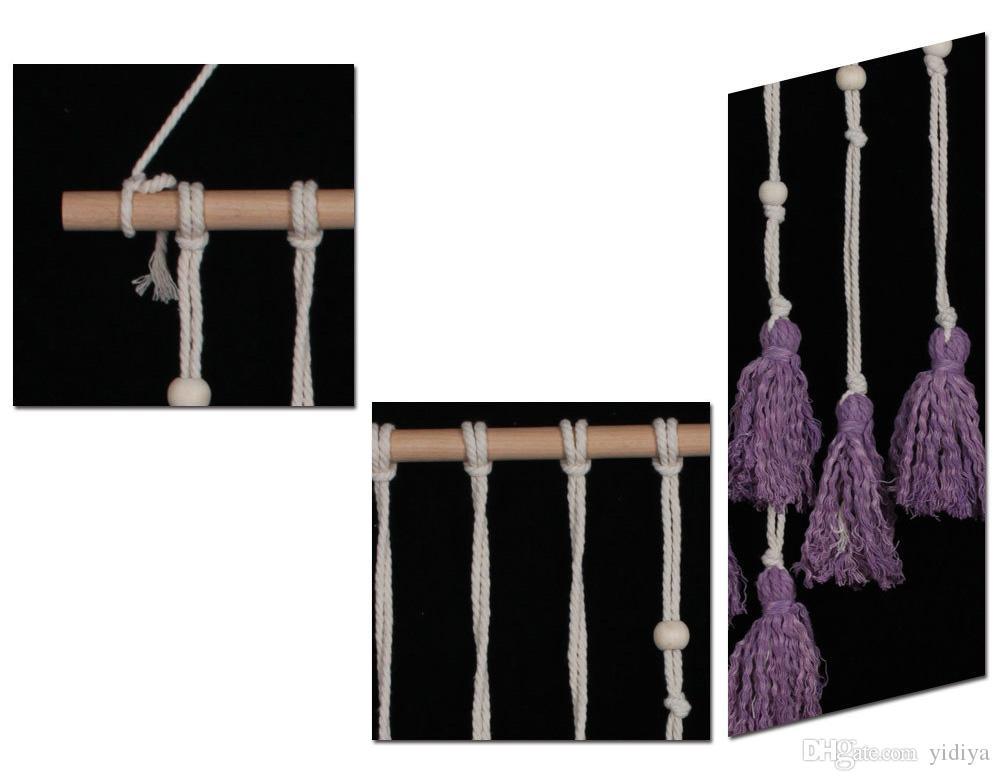Envío de la gota Bohemia Macramé Tapiz Colgante de pared Cordón de algodón Arte Hecho a mano Tapicería Beige Púrpura Crochet Artesanía Decoración para el hogar