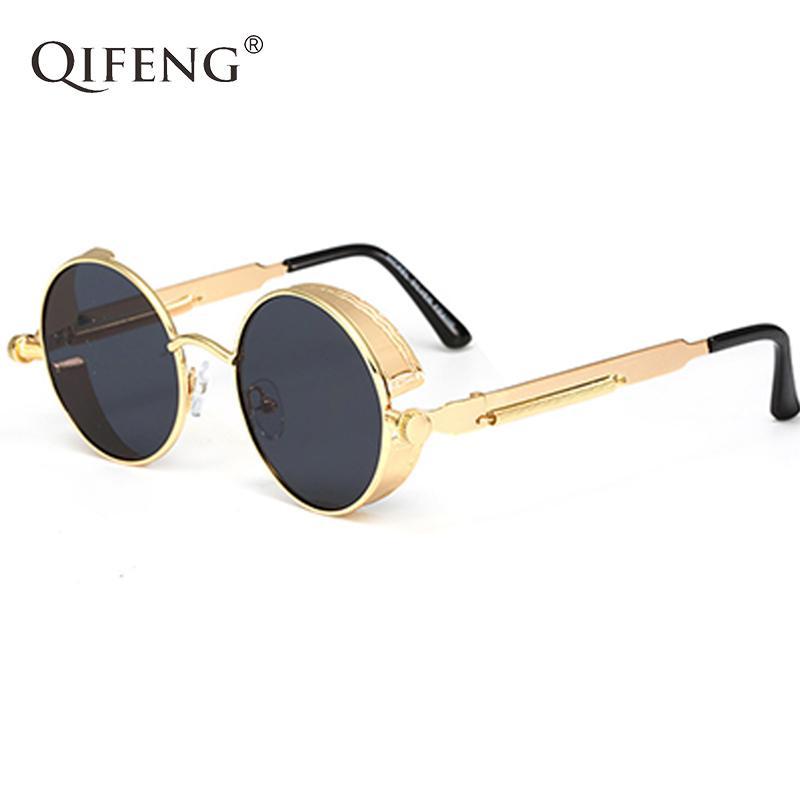 c6b339f18 Compre QIFENG Óculos Steampunk Óculos De Sol Dos Homens Das Mulheres  Designer De Marca Do Vintage Rodada Óculos De Sol Para Retro UV400 Feminino  Masculino ...