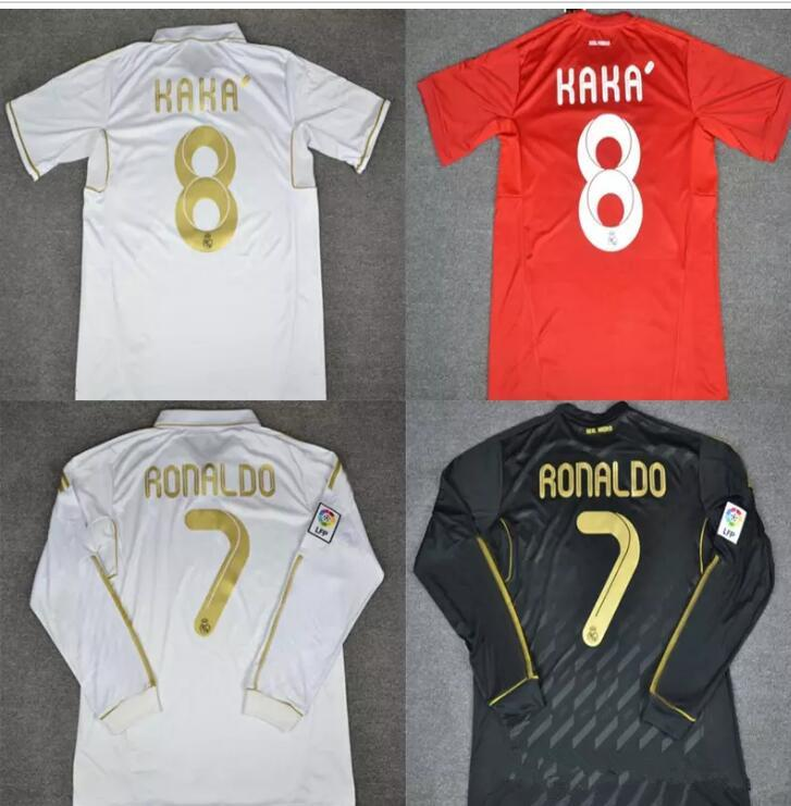 409d09e5f 2019 Soccer Jersey Long Sleeve Real Madrid Retro Soccer Jerseys 2011 2012  White Black Home Red Real Ronaldo KAKA Di María Ozil Alonso Shirts From ...