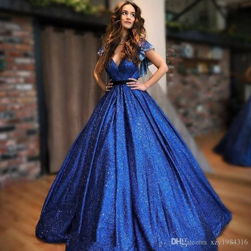 ea772744ee Sparkly Royal Blue Prom Dresses Fashion Sequined Deep V Neck Short Sleeve  Party Dress Charming Ball Gown Quinceanera Dresses Cheap Dress Prom Dresses  Cheap ...