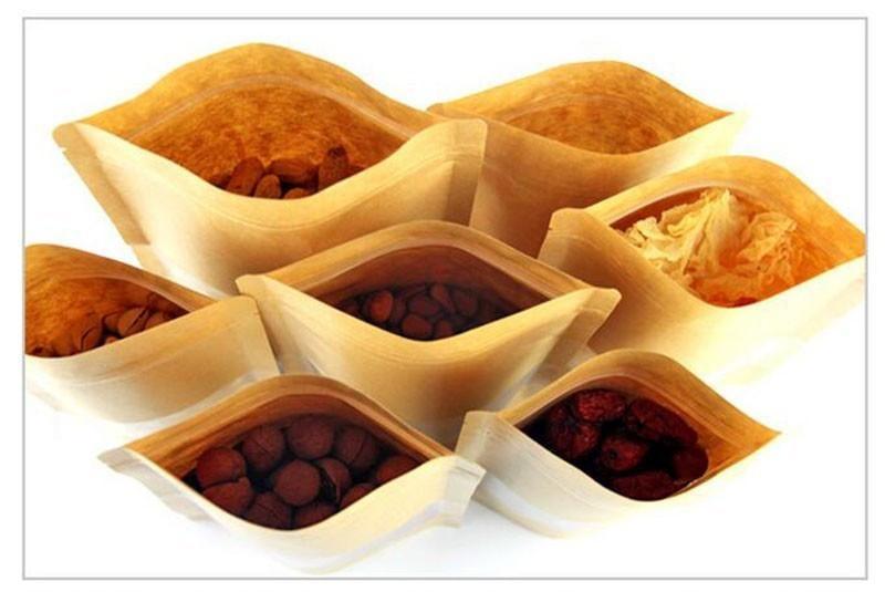 kare pencere Daire Gıda Torbaları ÇAY SOMUN AMBALAJ ÇANTA Nem geçirmez çanta C253 ile Kraft Kağıt Torba