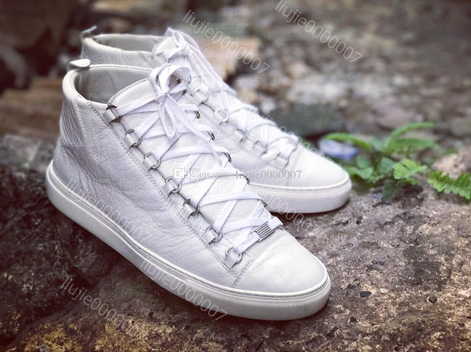 sale retailer 2b395 ac608 Vendita all'ingrosso scarpe da uomo Arena Casual Sneaker Fashion High Top  Lace Up Rosso Nero Bianco Rugoso scarpe di design in pelle Drop Shipping ...