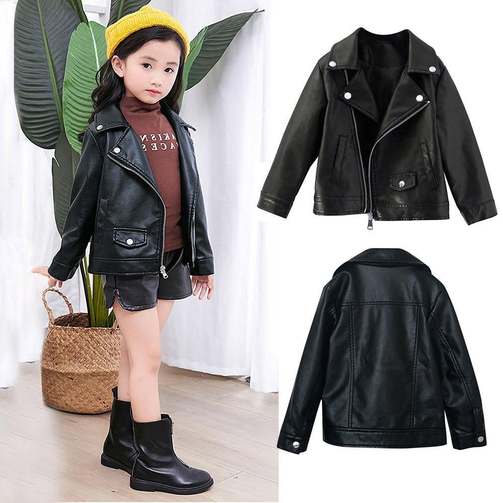 83edd527bd1f 2018 New Fashion Children Girls Boys Kid Baby Outwear Leather Coat ...