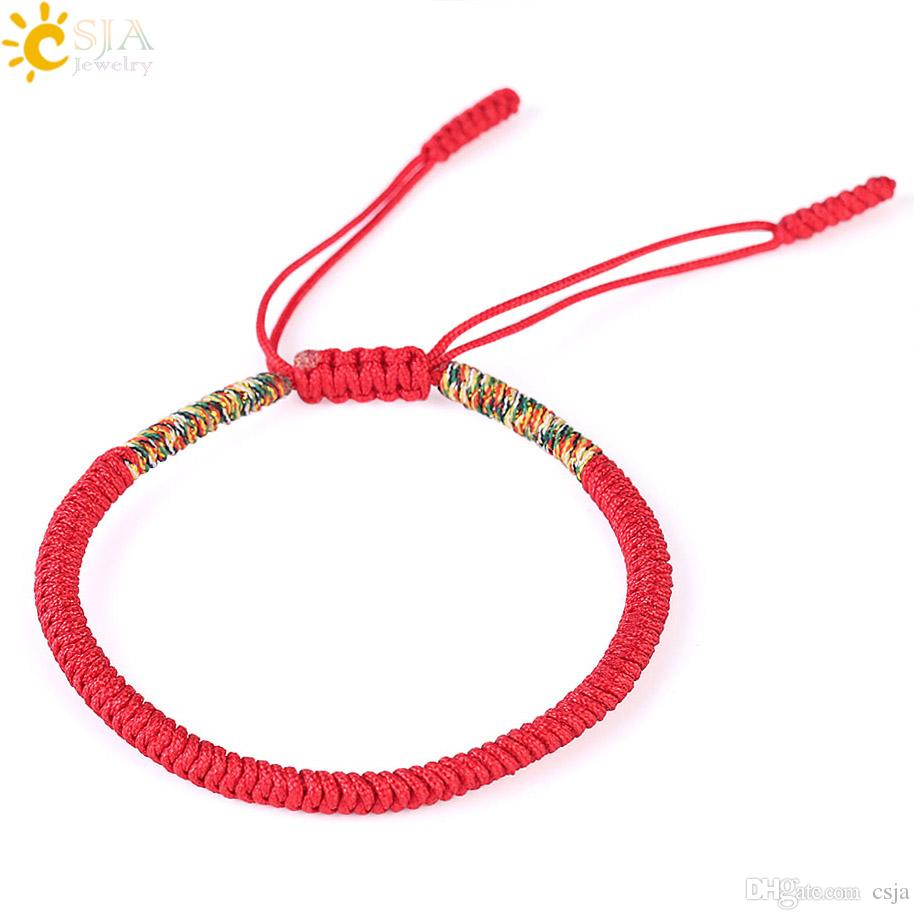 e8aebd84a1 2019 CSJA Tibetan Bracelets   Bangles For Women Men Buddhist Lucky Charm Handmade  Knots Rope Buddha Bracelet S161 From Csja