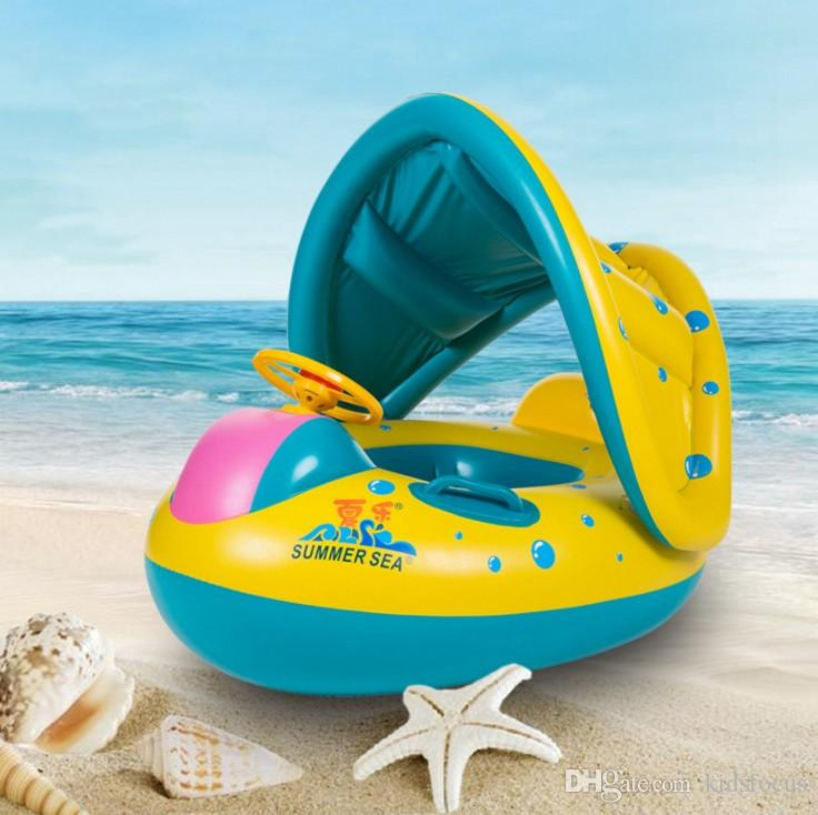 Hot sale inflatable toddler baby swim ring float kids swimming pool water seat with canopy