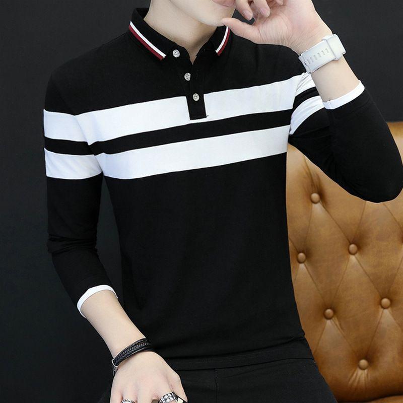 0d914a9df7 Compre Moda Listrado Mens Camisa Marcas Patchwork Ocasional Outono Inverno  Dos Homens Slim Fit Manga Longa Camiseta De Xiatian5