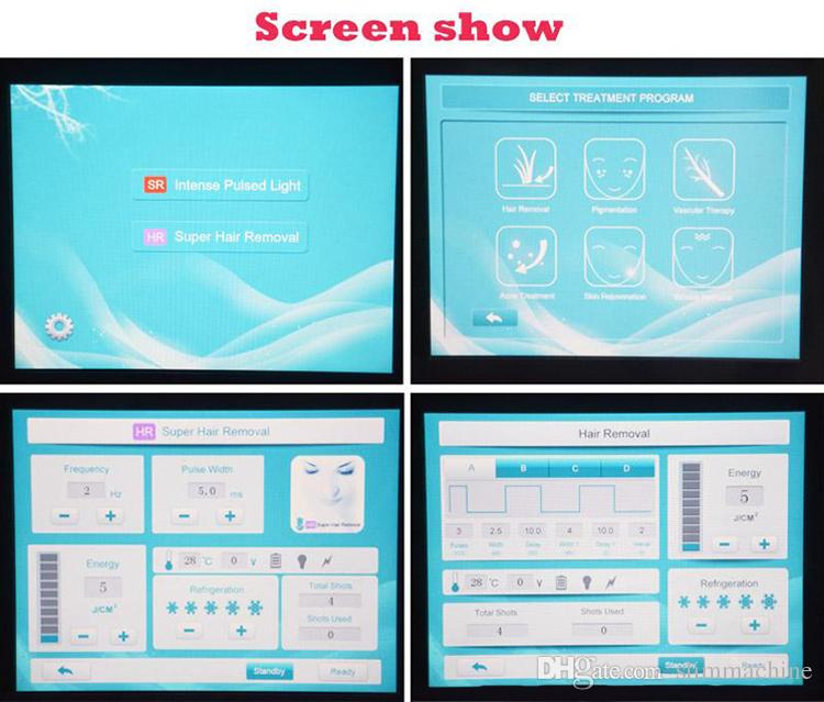 Sistema de depilación potente de alta intensidad IPL SHR E-light Máquina OPT / Máquina de depilación CE / DHL Envío rápido