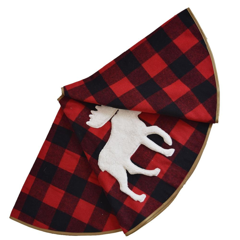sorrento 50 check plaid christmas tree skirt with 3d moose white sherpa applique embroidery christmas tree skirt christmas ornaments sale online christmas