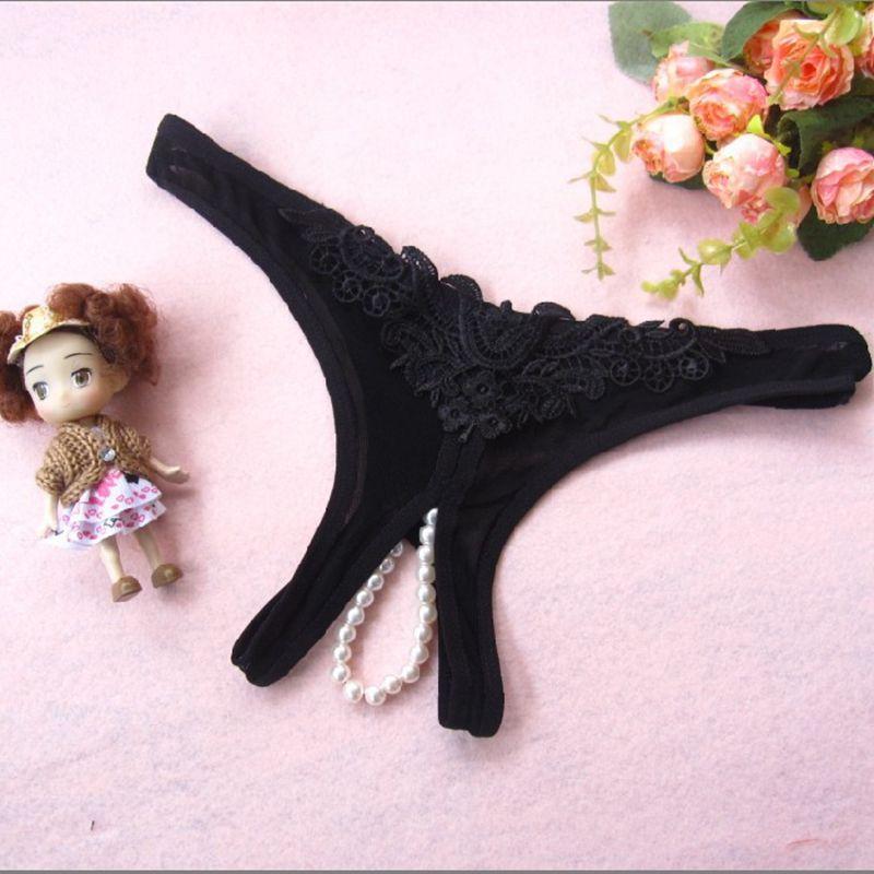 / 6 couleurs Sexy sous-vêtements perle ouverte entrejambe culotte fleur Bikini String G-string T-dos culotte Mémoires dames femmes Lingerie