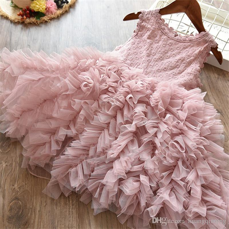 Baby Girls Clothes Little Princess Lace Cake Tutu Sashes Dress Summer  Clothes Kids Birthday Pink Vestido Infantil Menina 3 4 6 8 Years Girl UK  2019 From ... df64809e2d