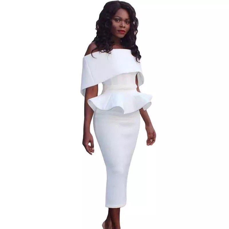 2e61dbc2477 New Fashion Designer Suit Set Women s Slash Neck Ruffle Tops Bodycon Skirt  Suit Set Party Wear Vestidos free shipping