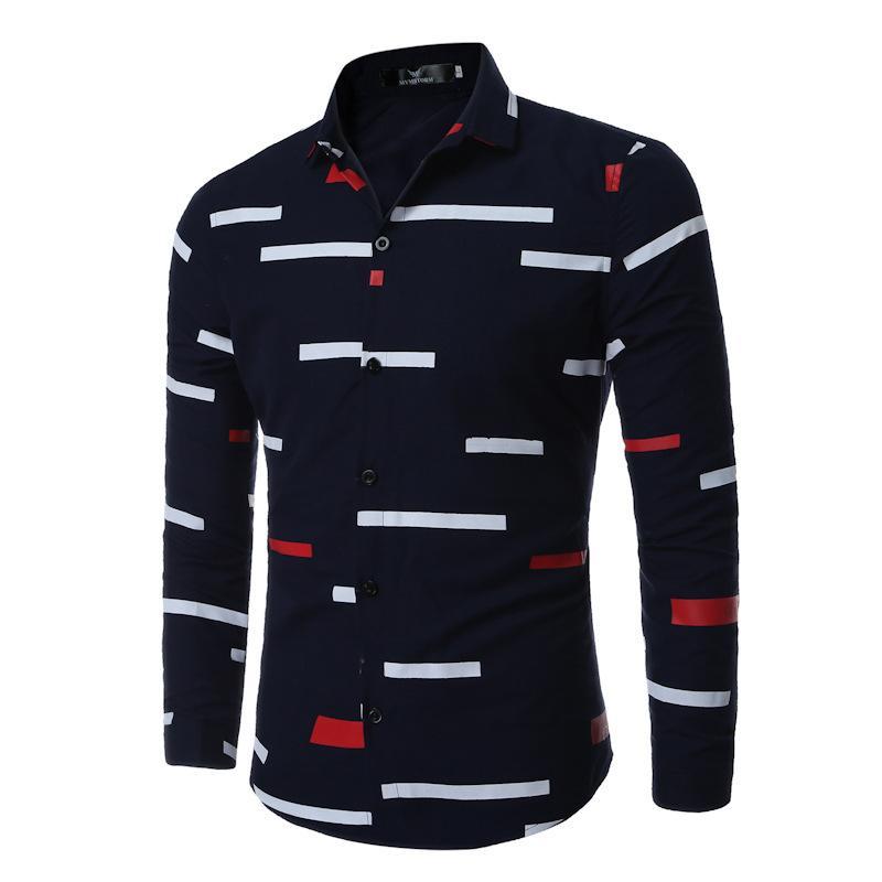 Compre Camisa Casual Hombres 2018 Famosa Marca Hombres Camisa Manga Larga  Blanco Negro Patchwork Camisas Slim Fit Camisas De Hombre Social C3068005 A   15.91 ... 0d74bcb2344e7