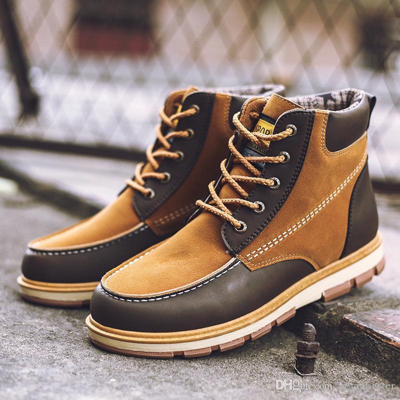 Home Leder Männer Stiefeletten Frühling Herbst Und Winter Mann Schuhe Ankle Boot Männer Schnee Schuh Arbeit Plus Größe 39-46