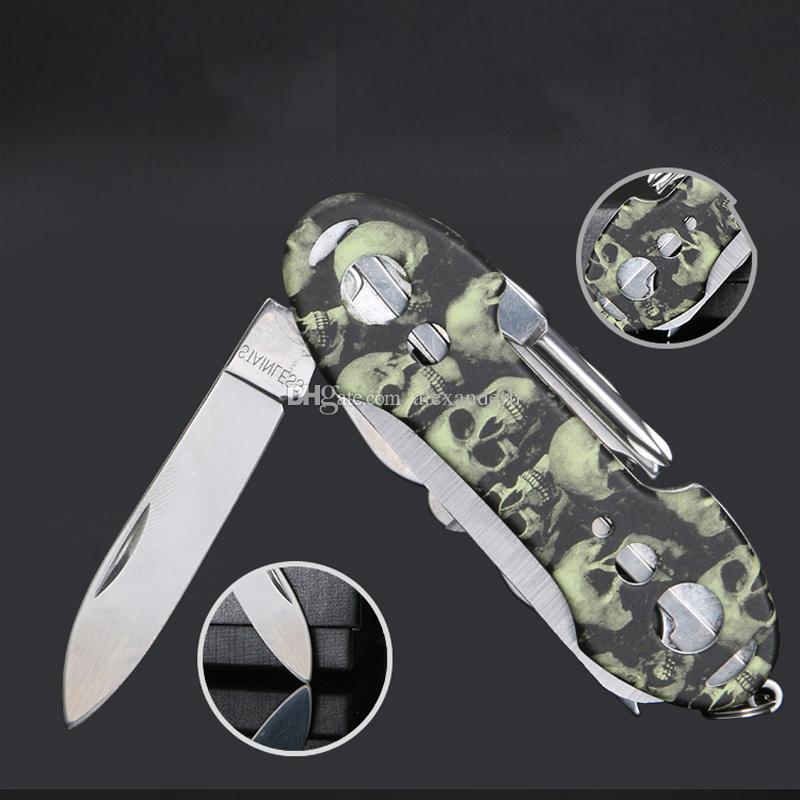 Cuchillo de herramientas de rescate al aire libre Cuchillos multifunción Supervivencia multifuncional Cuchillo militar de bolsillo Cuchillo plegable de bolsillo 91 mm Herramientas multifuncionales