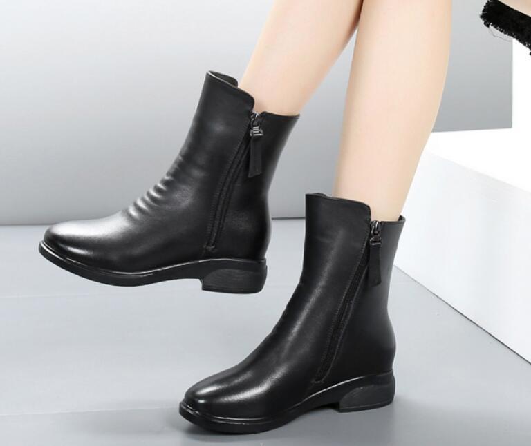 43836308d Compre Buena Venta Para Mujer Botas Plisadas Moda Antideslizante Negro Mujer  Invierno Zapatos Mujer Punta Redonda Botines Tobillo Caliente Suave A   100.51 ...