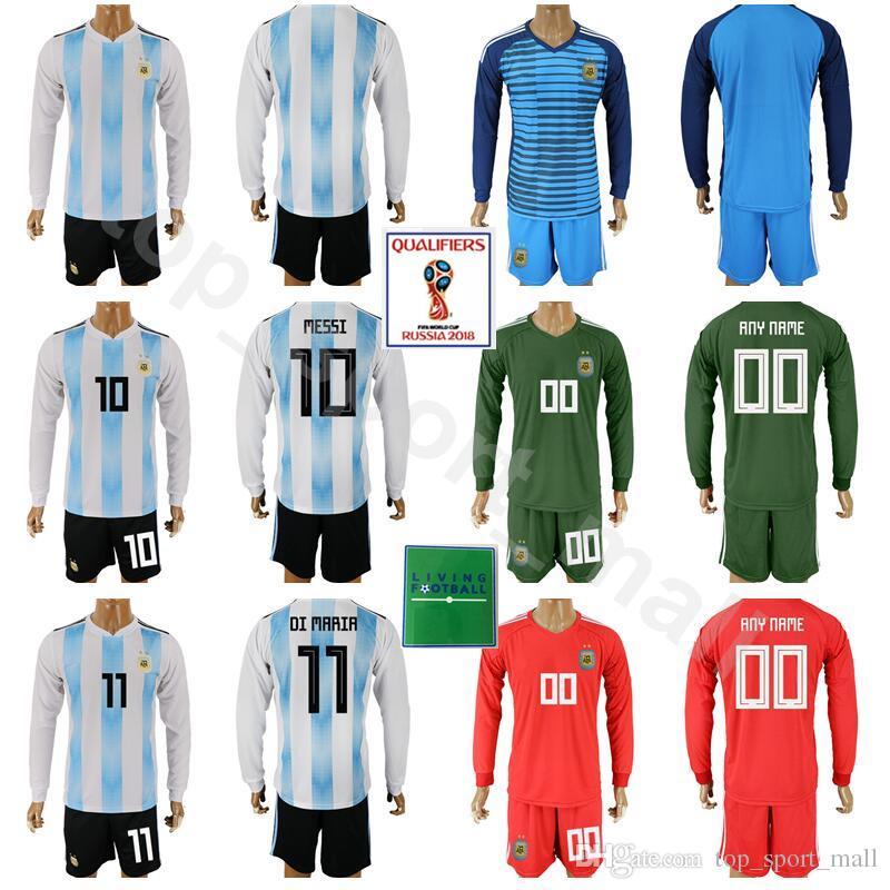 1d6f21aaf Conjunto De Manga Larga Argentina 2018 Copa Del Mundo 10 Kits De Fútbol Lionel  Messi 11 Angel Di Maria 1 Camisa De Fútbol Nahuel Guzmán Con Pantalón Corto  ...