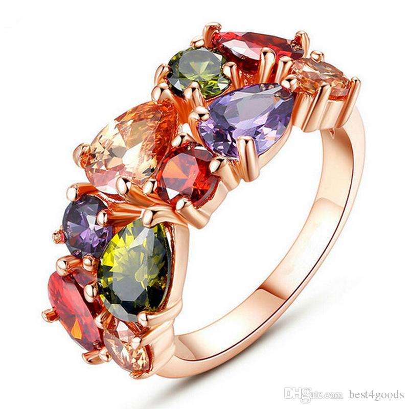 Mona Lisa Multicolor Cubic Zircon Ring for Women Fashion Finger Jewelry Rose Gold color Bride Engagement Rings Wholesale