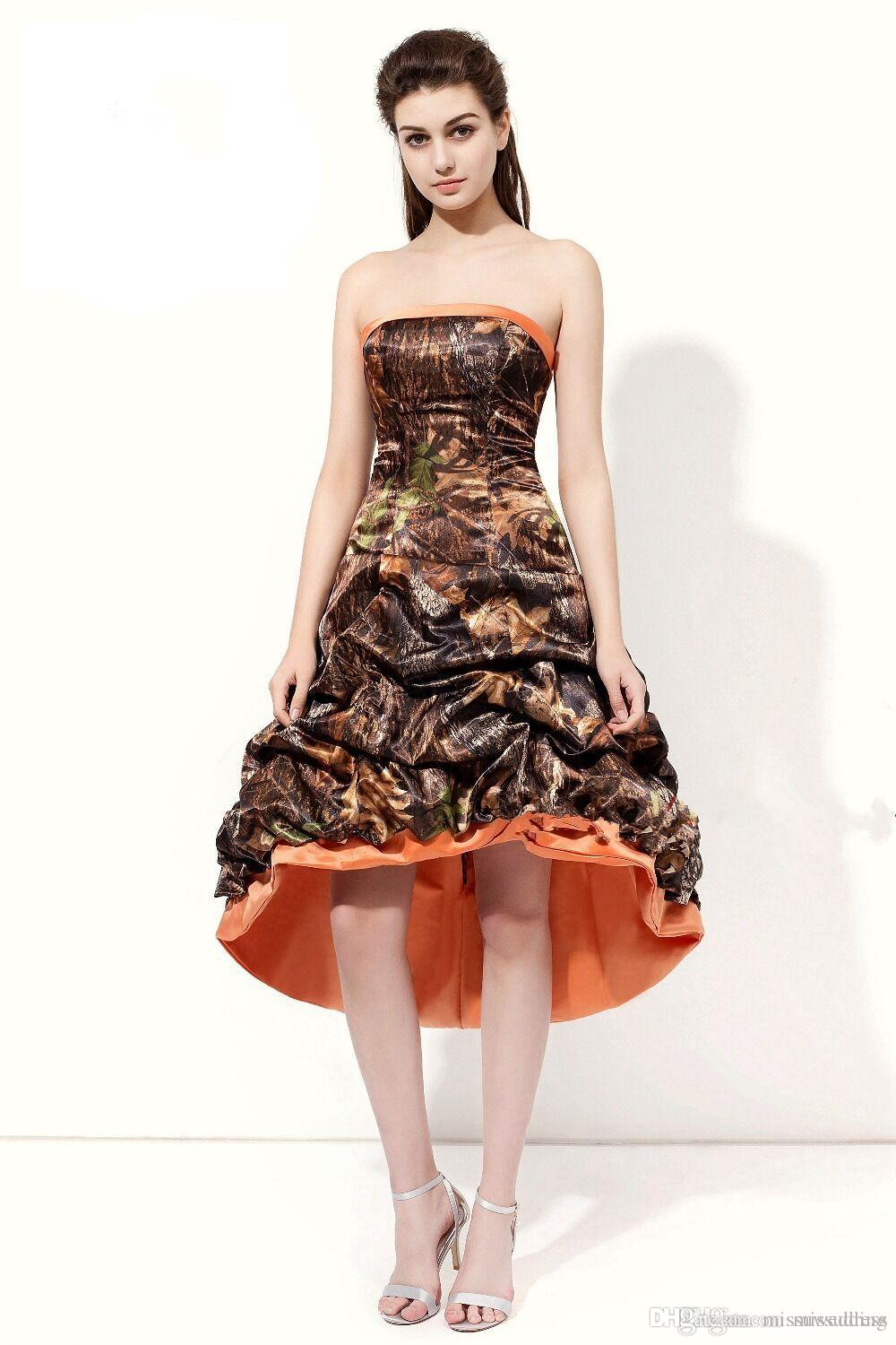 Camo Prom Dresses Strapless High Low Prom Gowns Camouflage ...