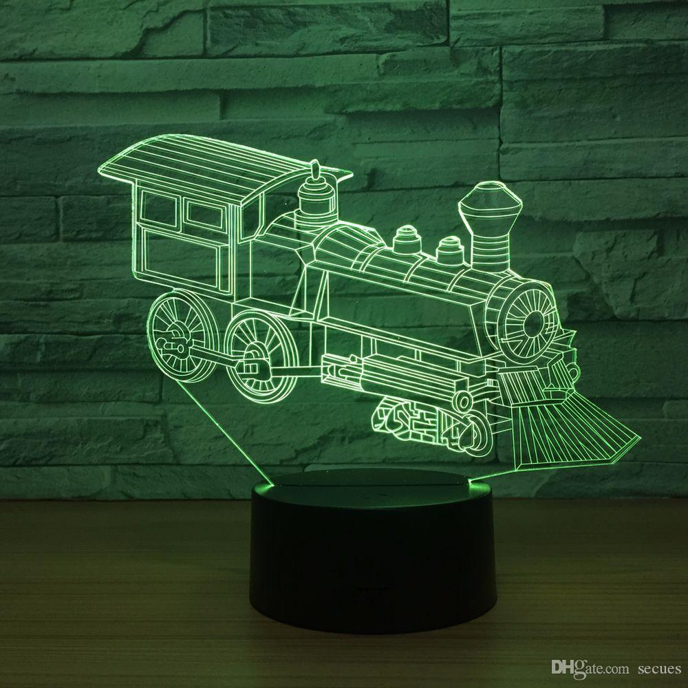 Train Engine 3D Optical Illusion Lamp Night Light DC 5V USB Powered AA Battery Wholesale Dropshipping