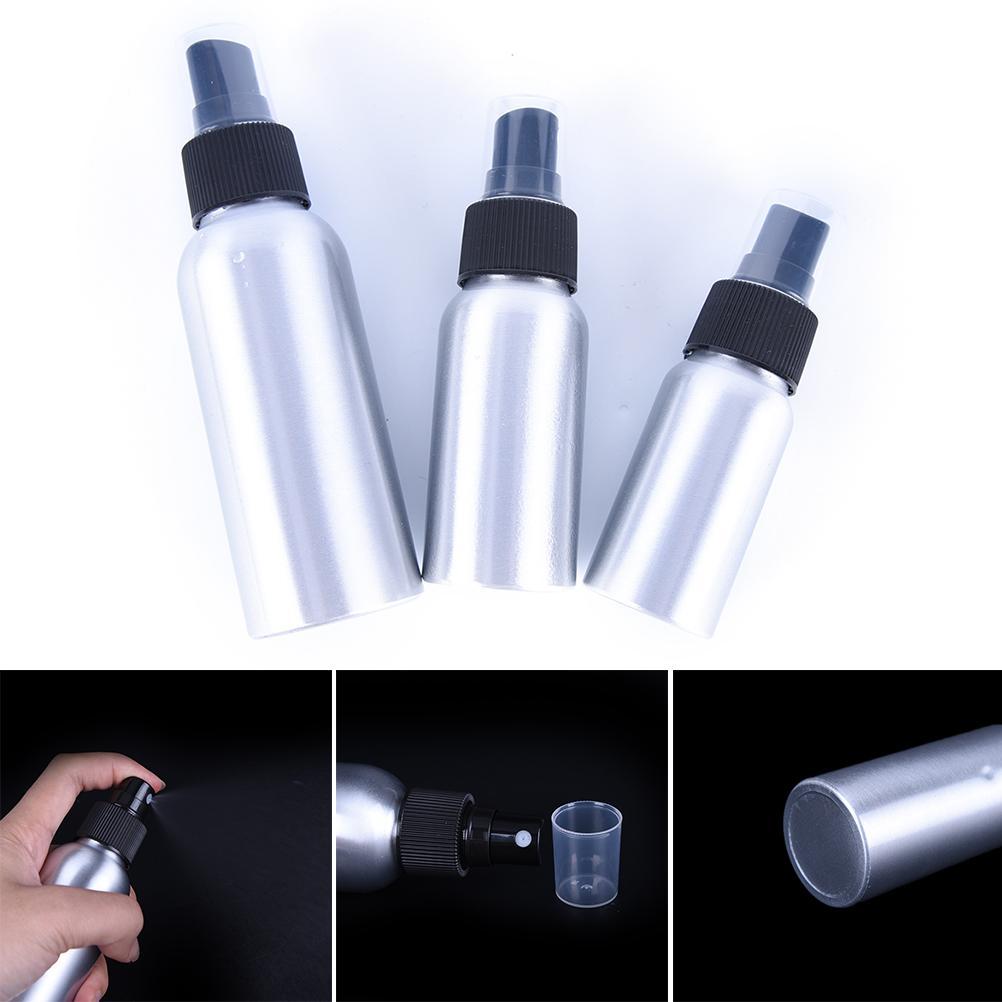 1 PZ 30 ml / 50 ml / 100 ml Alluminio Spray Bottiglia Nera Pompa Riutilizzabile Bottiglie Vuote Atomizzatore Per Strumento di Imballaggio cosmetico