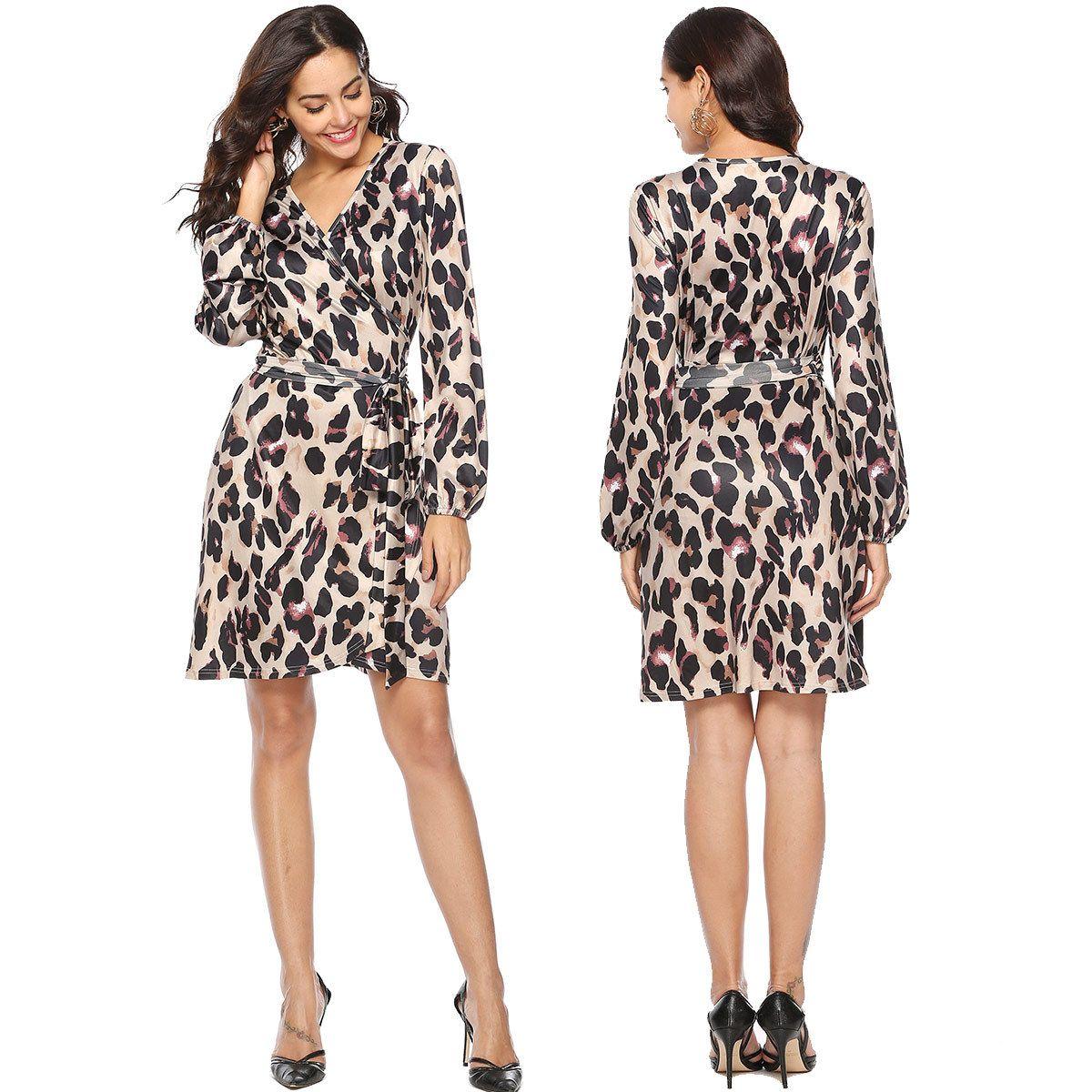 Women s Leopard Print Long Sleeve Deep V Neck Sexy Tie Front Wrap ... 6635a8a70e