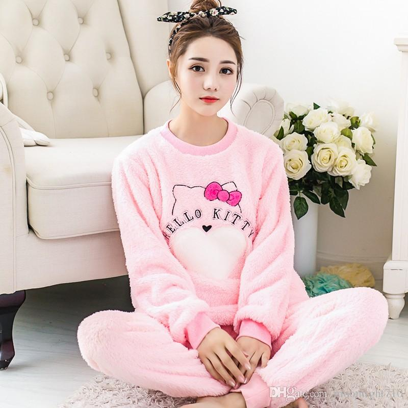 Hot Sale Women Pyjama Sets Thicken Flannel Pajama Sets Winter Cartoon Thick  Warm Lovely Pink Costume Nightgown Sleepwear Suits UK 2019 From  Moonlight710 968a91f10