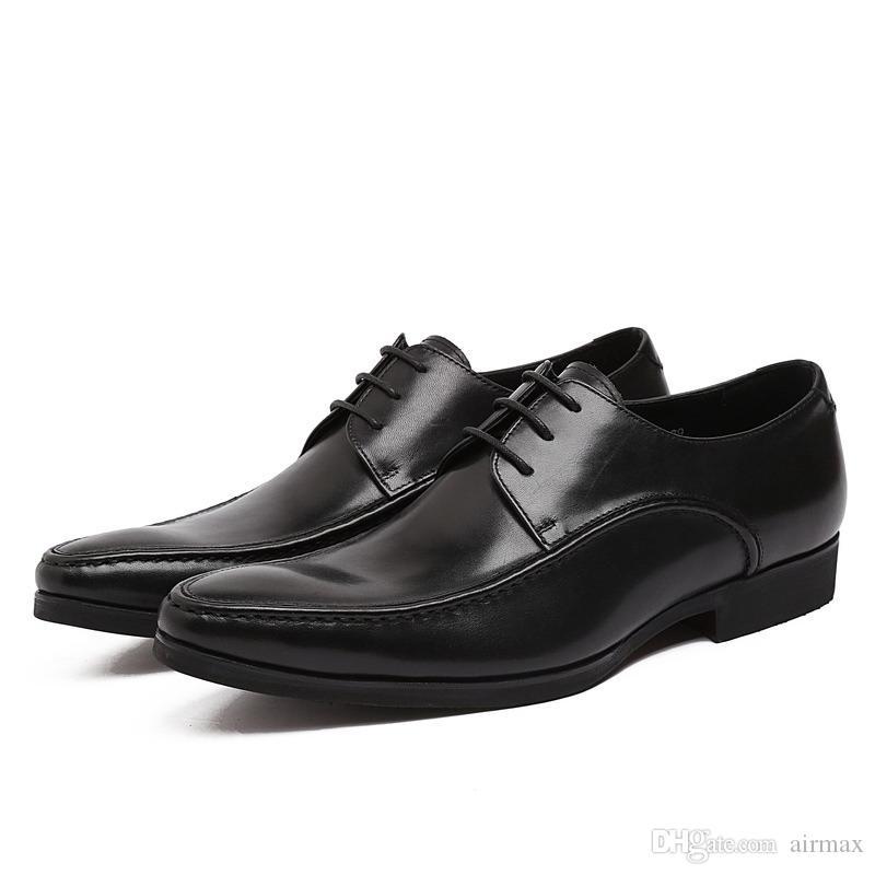 add894a8d Compre Sapatos Formais De Couro Genuíno Dos Homens Negros Moda Rendas Até  Bico Do Pé Vestido Sapatos Simples Design Clássico Escritório Carreira  Sapatos De ...