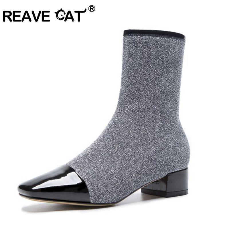 Compre REAVE CAT Zapatos Mujer Botines Stretch Zipper Cuadrado Dedo Del Pie  Talón Grueso Botas Feminino Mujer Calcetines Botas De Cuero Geniune A1426 A  ... bf8f442826125