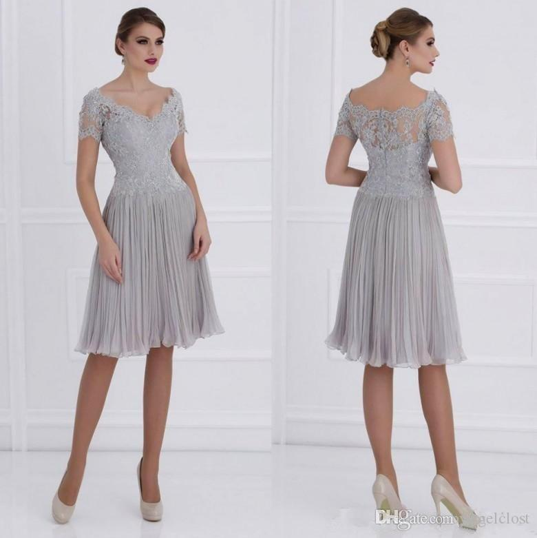 4fdfdd73df 2018 Silver Mother Of The Bride Dresses V Neck Lace Appliques Short Sleeves  Ruched Chiffon Knee Length Women Wedding Guest Gowns Plus Size UK 2019 From  ...