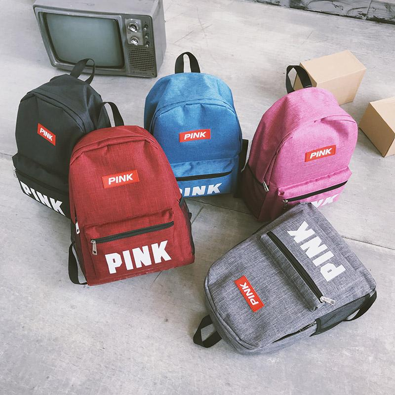 96e783ee98 PINK Letter Backpacks 2018 Student Fashion Large Female Travel ...