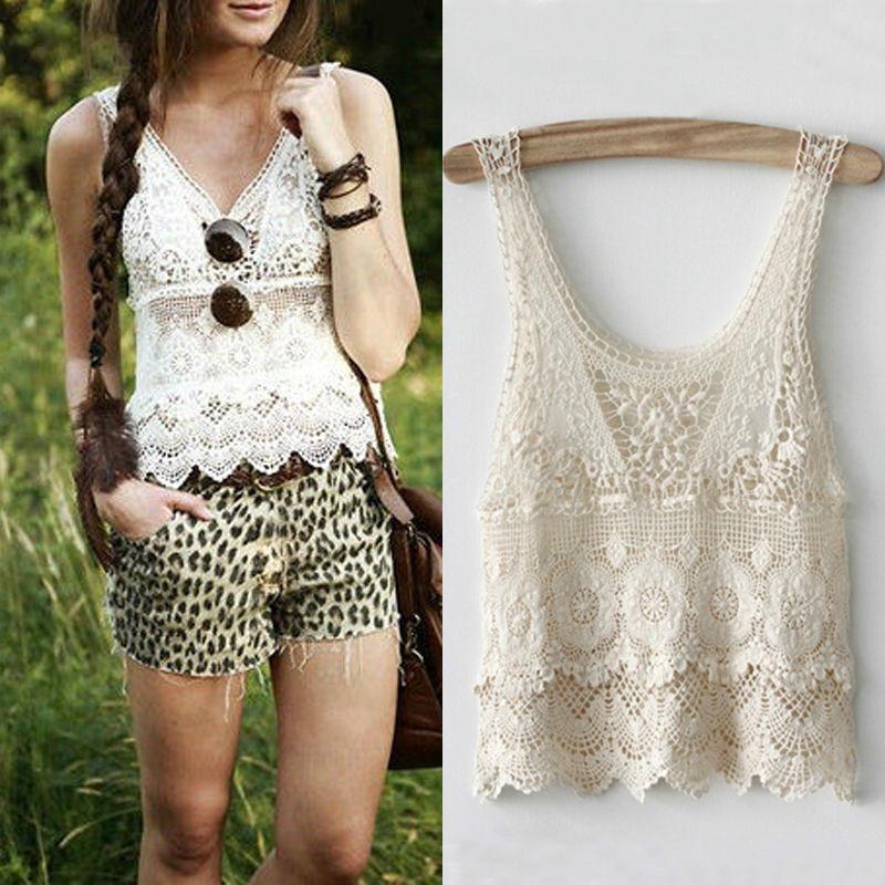7f11be11372549 2019 Women Lady Summer Sexy Hippie Boho Crochet Lace Beige Vest Tank Top  Blouse Short Crop From Jellwaygood