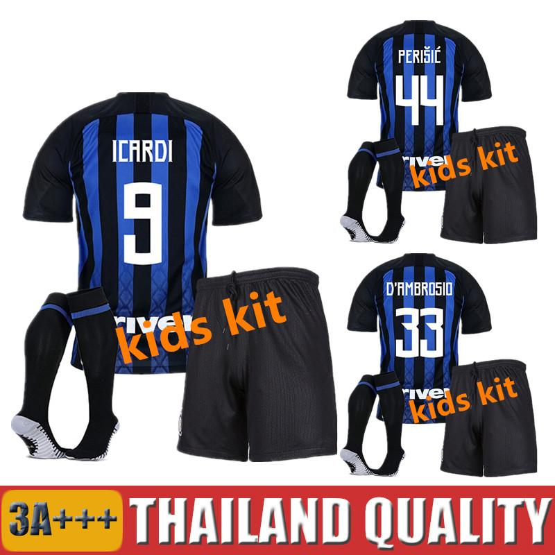 KIDS 18 19 CANDREVA INTER Soccer Jerseys EVER BANEGA HOME AWAY D ... bf0fe606d