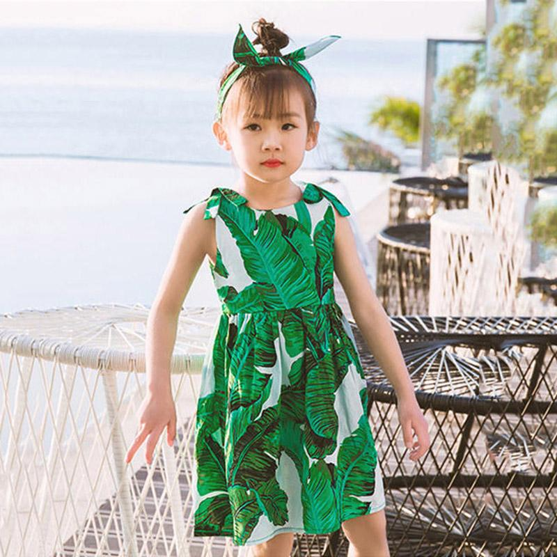 5dd014a8bf4f0 2019 Summer Fashion Dresses Girls Plantain Printed Skirts Children Sundress  With Hair Band Baby Girl Clothes Dresses For Kids Girl From Nikeapparel