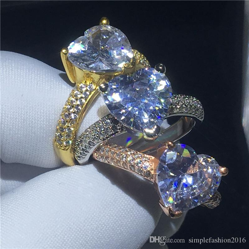 Heart Shape ring Yellow Gold Filled Clear 3t Sona Cz Stone Engagement wedding band ring for women Bridal Finger Jewelry