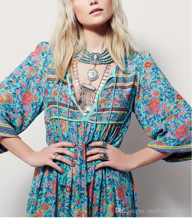 cd1258c1e9c4b 2018 New Bohemian V Neck Maxi Long Dress Women Floral Print Retro Hippie  Vestidos Clothing Boho Big Plus Size Casual Beach Summer Dresses Women Long  Dresses ...