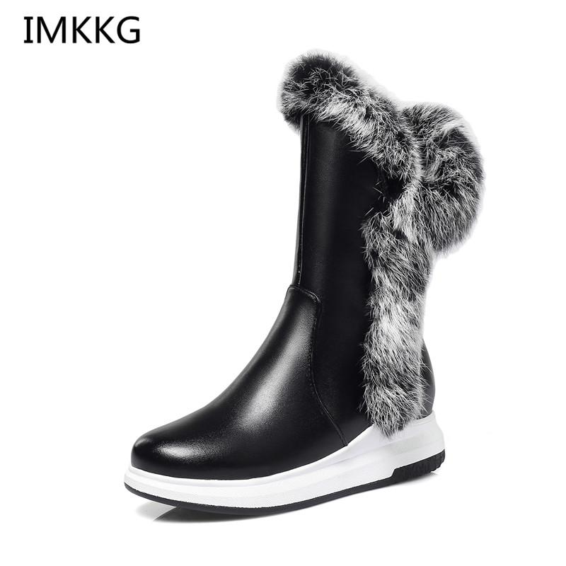 6ff5881107 Animal Fur Women Snow Boots Flat Heels 2018 New Winter Cotton Shoes Woman  With Zipper Thick Plush Round Toe V347