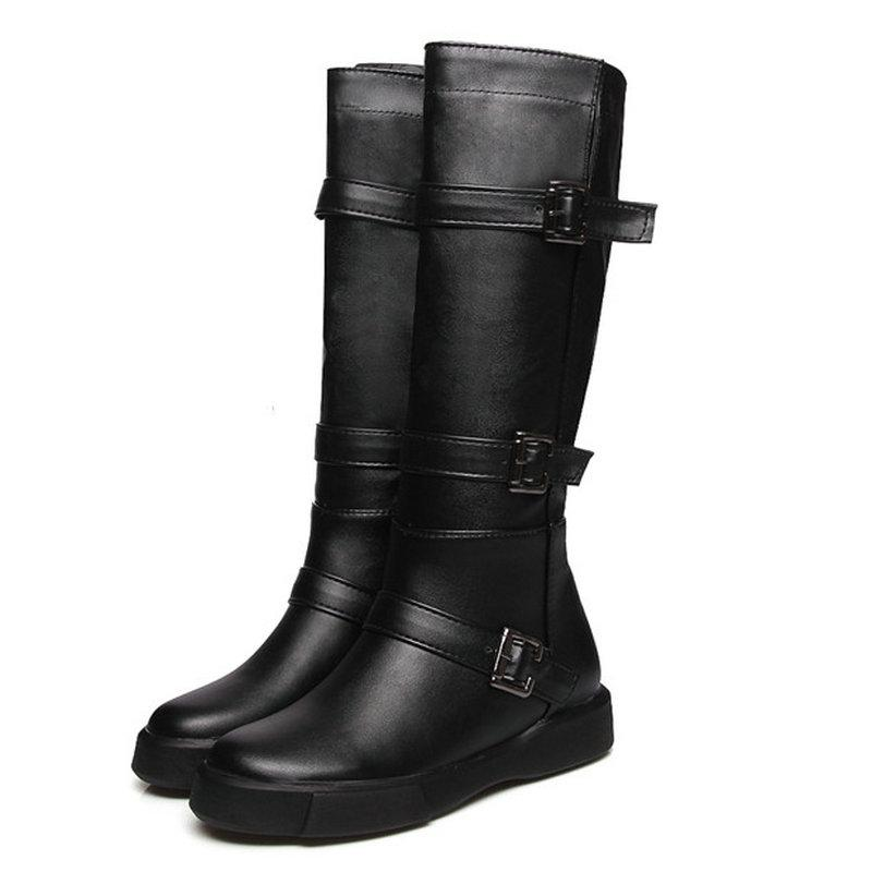 Size 34 43 Women Soft Leather Mid Calf Boots Female Slip On Plus