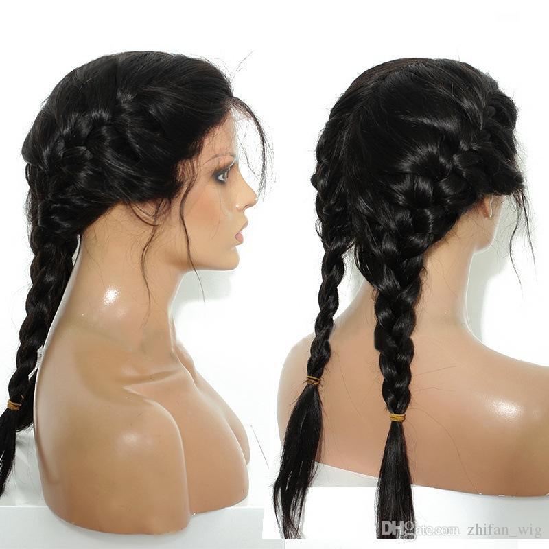 ZhiFan perruque avant en dentelle droite 24inch en dentelle devant les cheveux hairline look naturel véritable synthétique doux pour les femmes noires