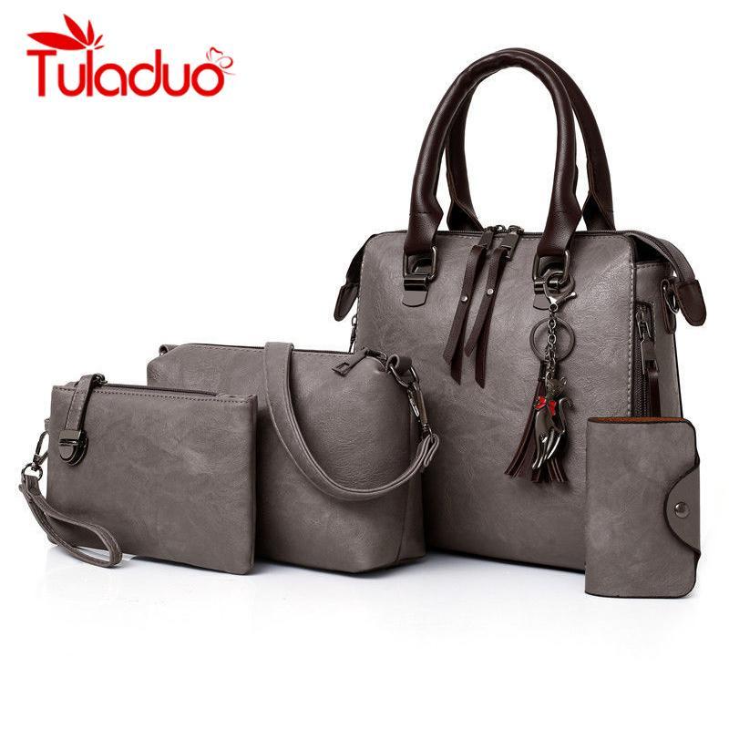 821a8e71c Compre Tuladuo Bolsas De Luxo Mulheres Sacos De Designer Sacos Composto Para  As Mulheres 2018 4 Conjunto / Pcs Bolsa De Raposa Borla Bolsa Mujer Bolsa Da  ...