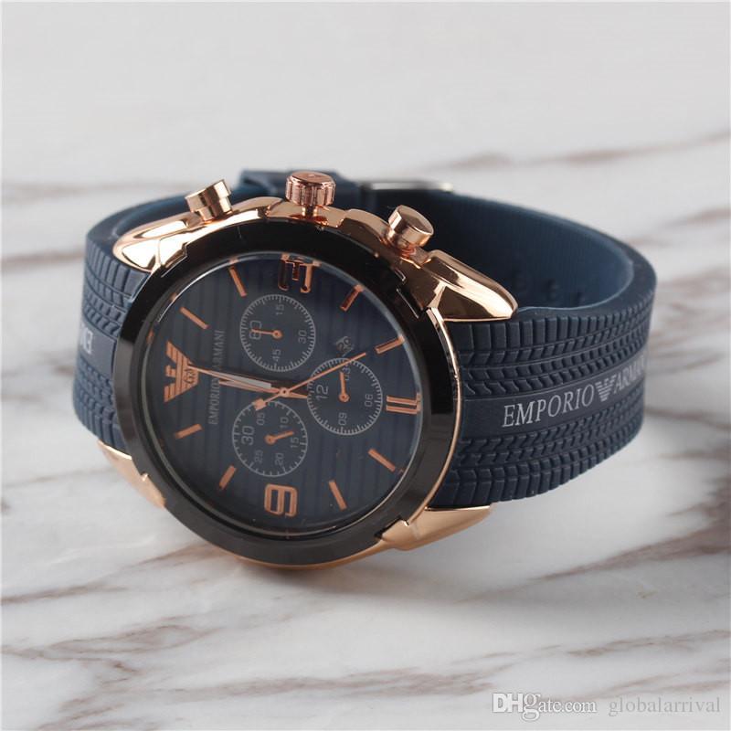 e57588f6ef6e Compre Nuevo Reloj Deportivo Azul Hombres Moda De Lujo Casual Marca Hombre Relojes  De Pulsera Fecha Automática Japón Relojes De Cuarzo Orologio Relógio ...