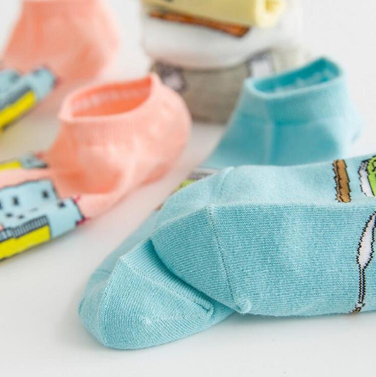 Socken Schiff Knöchel Baumwolle Polyester für Dame Mädchen Frauen weiblich 20-24,5 cm frei Größe Cartoon Bild