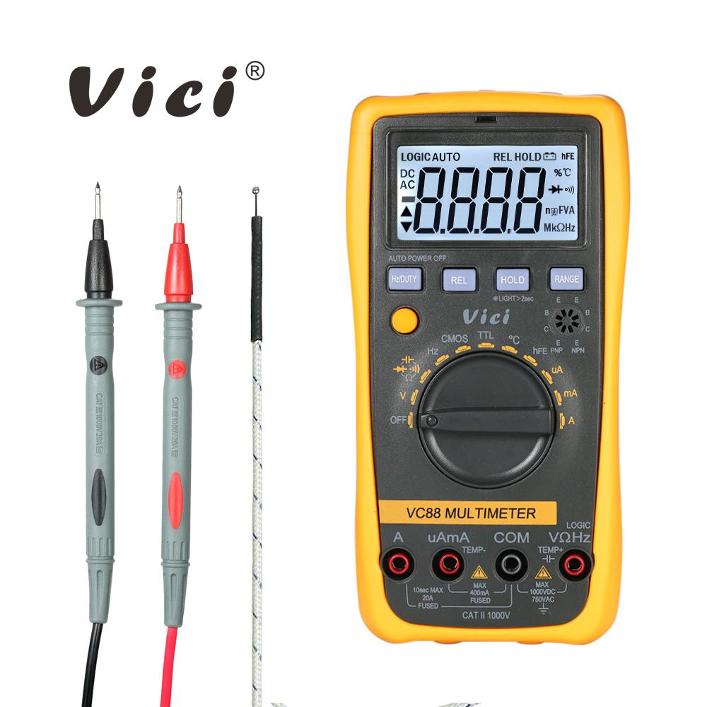 Digital Multimeter DC AC Voltage Current Meter Resistance Capacitance Frequency Diode Temperature Tester Transistor hFE Measure
