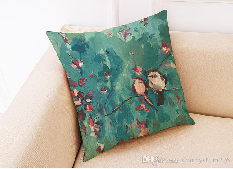 Птицы цветы белье чехлы домашний офис диван квадратный наволочка декоративные наволочки без вставки18*18 дюймов