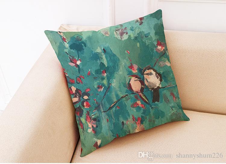 Uccelli Fiori Cuscini di lino Cuscini Home Office Divano Cuscino quadrato Custodia decorativa Copri cuscino senza inserto 18 * 18 pollici
