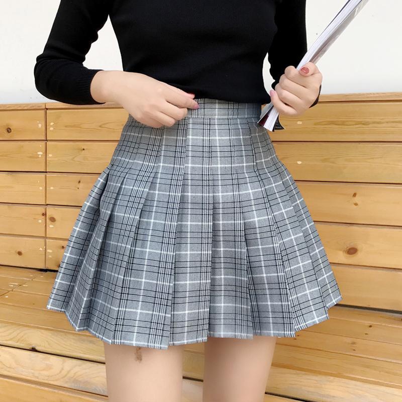 Acheter Harajuku Kawaii Taille Haute Plaid Mini Plissé Jupe Femmes ... 512a238c296