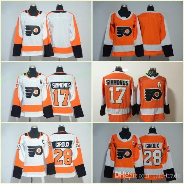 12a709e2d Philadelphia Flyers  28 Claude Giroux Jerseys 17 Wayne Simmonds Blank  Orange White All Stiched Hockey Jersey Men Women Youth Kids Boy Girls  Hockey Jerseys ...