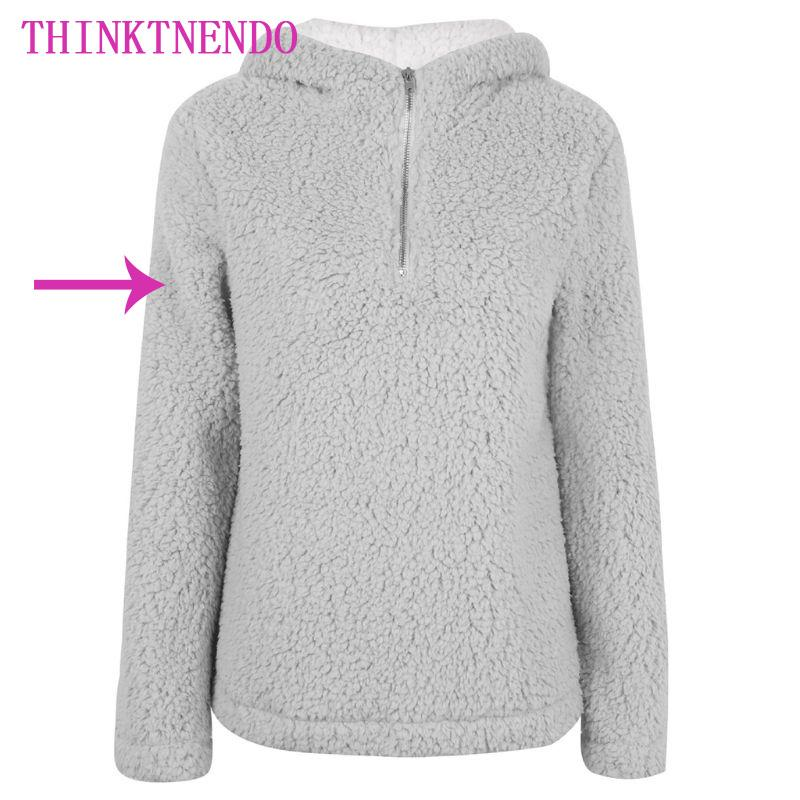 59b213233e6805 2019 Women Winter Thicken Warm Long Sleeve Sweatshirt Solid Color 1/4 Zip  Up Fluffy Faux Fleece Pullover Hoodies Coat Turtleneck High From Beenni, ...