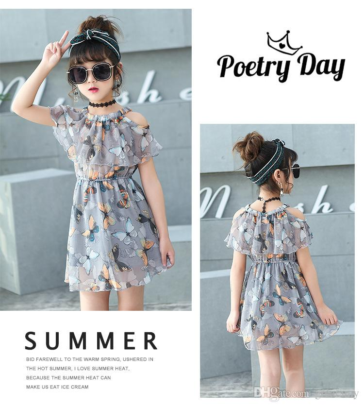 dd0e0f6317060 Summer kids chiffon dresses for girls baby girl beach dress teenager  princess kids clothing infant floral print child clothes
