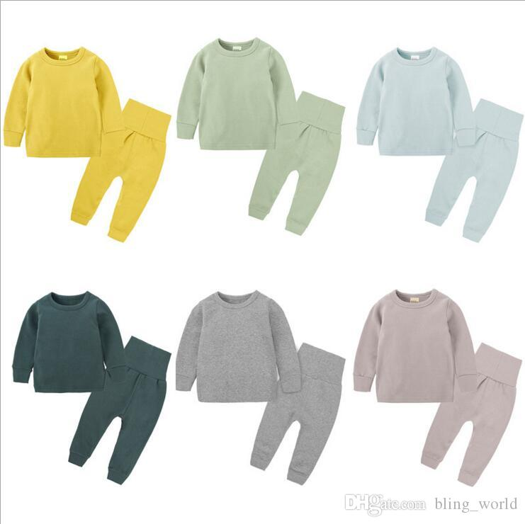 80e6db453 2019 Baby Pure Color Clothes Set Kids Boy Girl Long Sleeve Top Pants ...