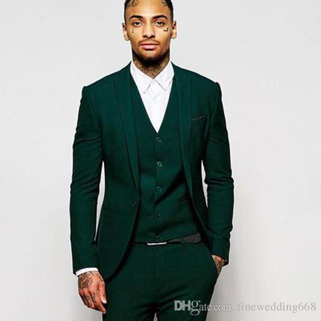 New Design One Button Green groom uxedos Peak Lapel rosmen Best Man Suit Mens Wedding Suits Bridegroom Jacket+Pants+Vest+Tie NO:18